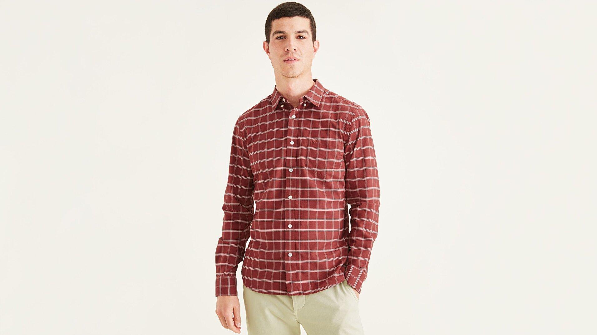 Men's Slim Fit 2 Button Collar Gömlek